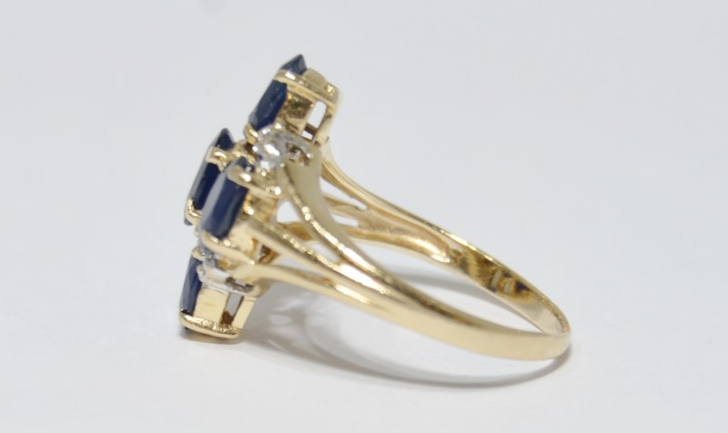 14K Yellow Gold Triple Split Shank Sapphire & Diamond Cross Cluster Ring sz 6