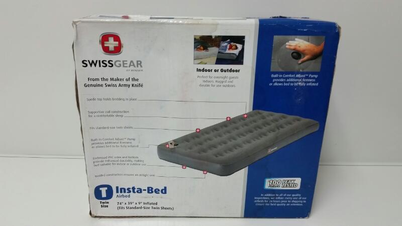 NEW Swiss Gear Inflatable Insta-Bed Twin Comfort Adjust Air Mattress