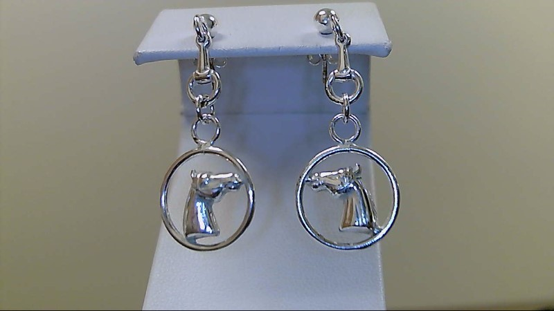 Silver horse dangle Earrings 925 Silver 3.4g