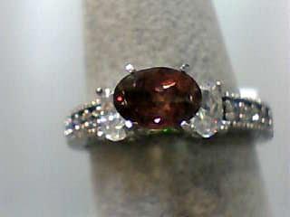 Almandite Garnet Lady's Stone Ring 10K White Gold 2.1dwt Size:6