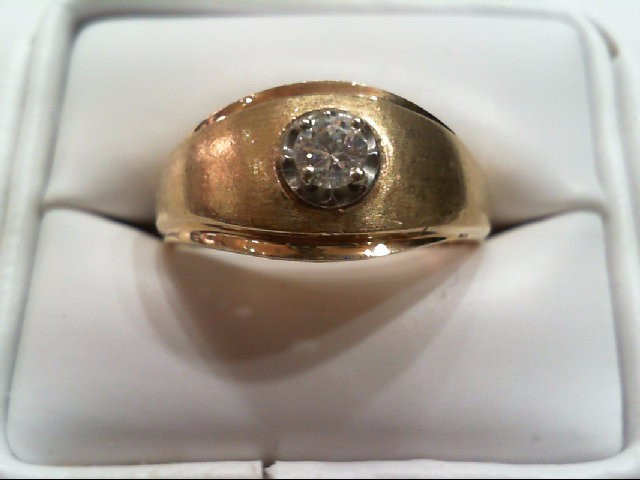 Gent's Diamond Solitaire Ring .20 CT. 14K Yellow Gold 6.5g