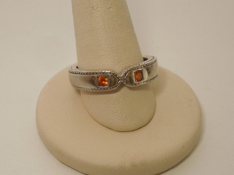 Orange Stone Gent's Stone Ring 14K White Gold 9.2g