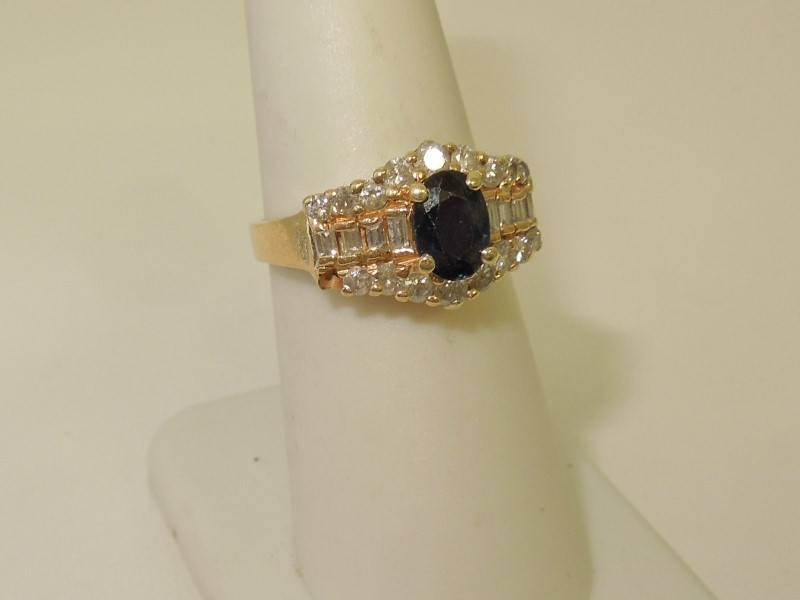 Synthetic Sapphire Lady's Stone & Diamond Ring 26 Diamonds .62 Carat T.W.