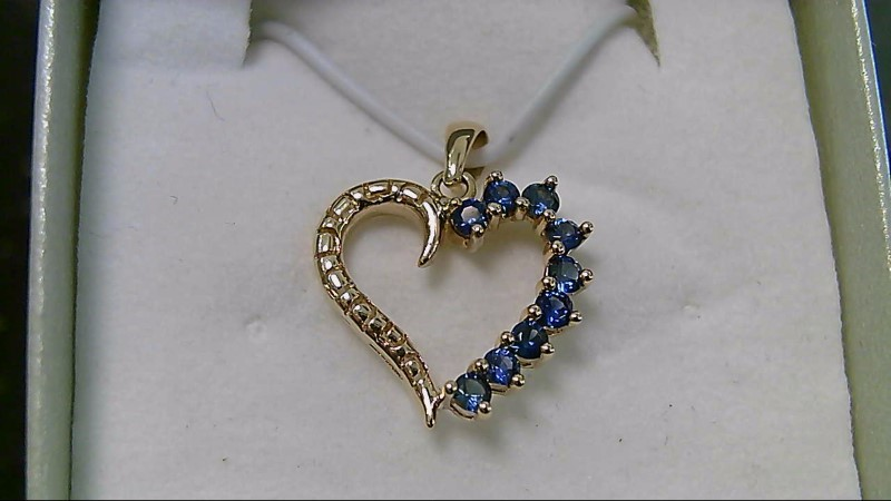Synthetic Sapphire Gold-Stone Pendant 14K Yellow Gold 1.2g