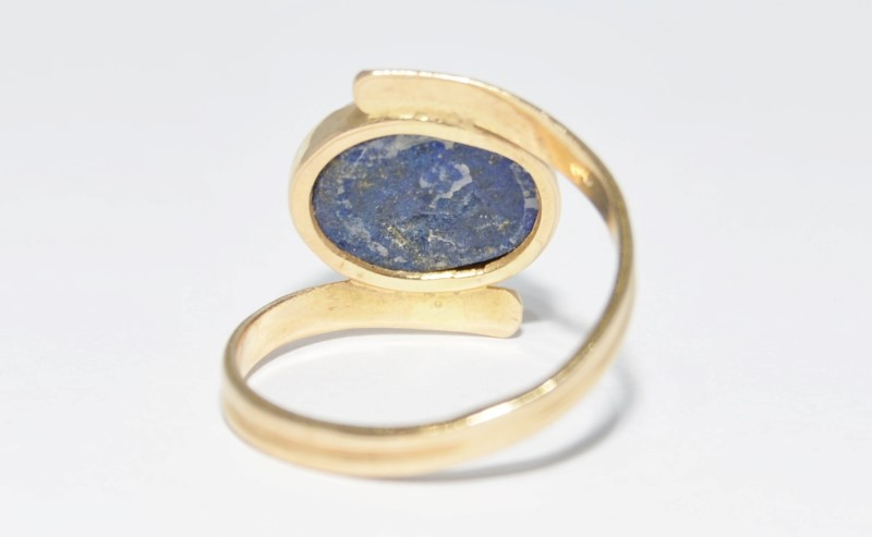 10K Yellow Gold Unique Split Band Full Bezel Set Cabochon Lapis Lazuli Ring sz 9