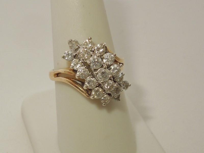 Lady's Diamond Cluster Ring 19 Diamonds 1.20 Carat T.W. 14K Yellow Gold 6.2g