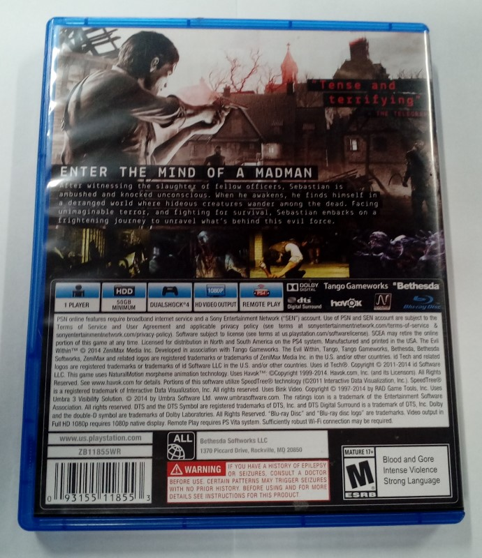 SONY PS4 PLAYSTATION 4 GAME THE EVIL WITHIN
