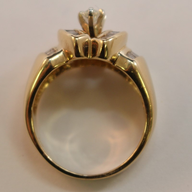 Vintage Inspired Marquise & Baguette Diamond Solitaire Ring Size 7.5