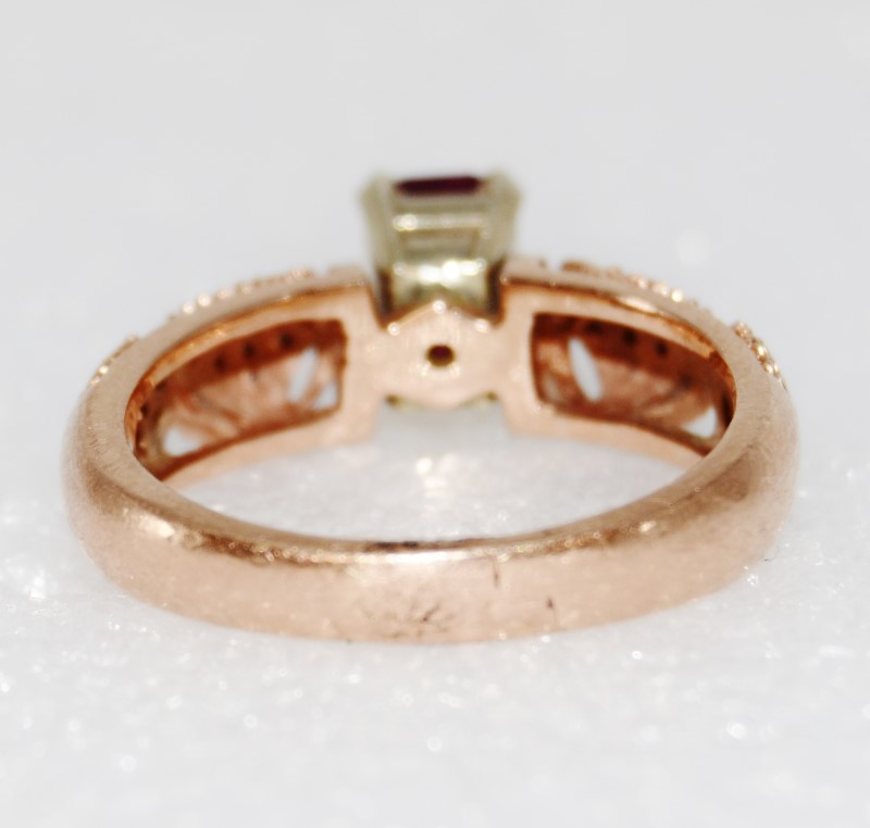 14K Rose Gold Emerald Cut Ruby & Diamond Detailed Ring size 8 Fall