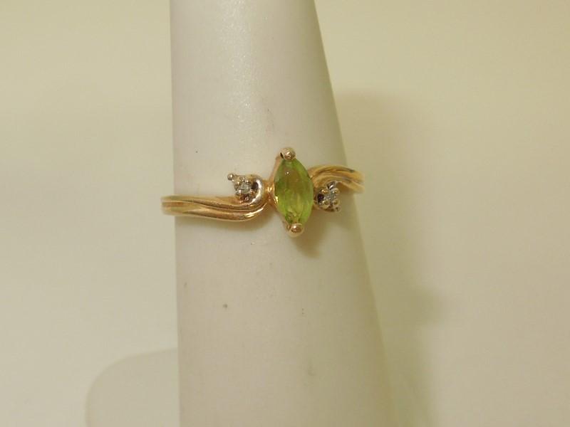 Synthetic Peridot Lady's Stone & Diamond Ring 2 Diamonds .010 Carat T.W.