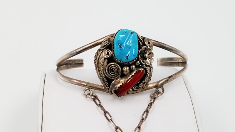 Turquoise & Coral Bracelet Bangle Slave Ring Sterling Size: 6.5