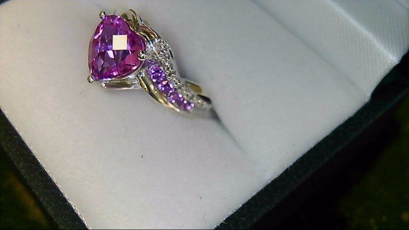 Synthetic Pink Sapphire Lady's Diamond & Stone Silver Ring 925 Sz 7