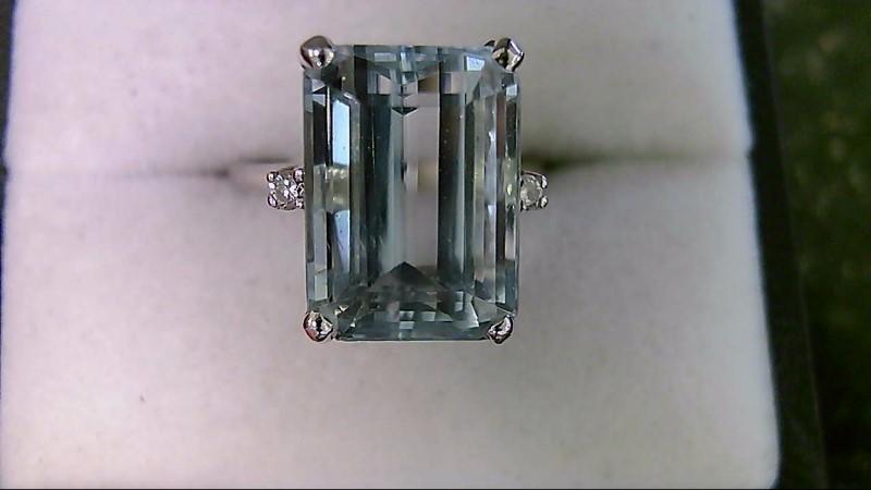 Genuine Emerald Cut Aquamarine with Diamonds Lady's White Gold Ring