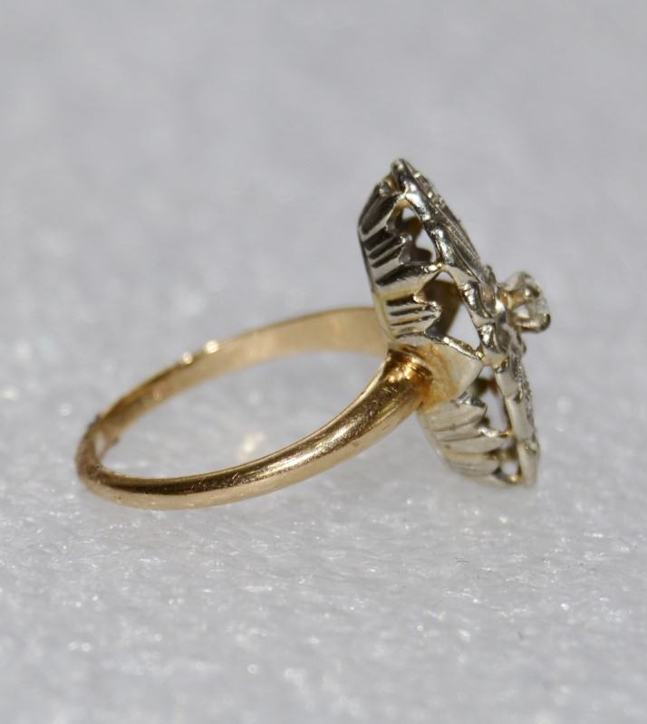 14K Two Tone Yellow & White Gold Vintage Inspired Diamond Swirl Shield Ring 4.5