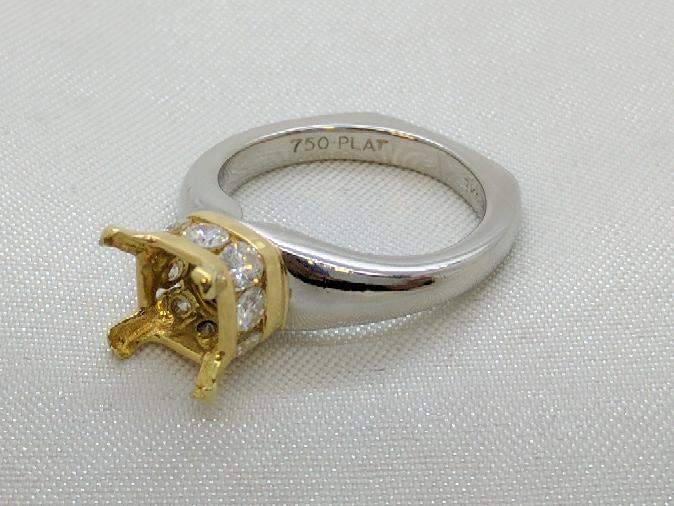 Richard Krementz Diamond Platinum/18k Setting Semi-Mount .71ct-1.00ct