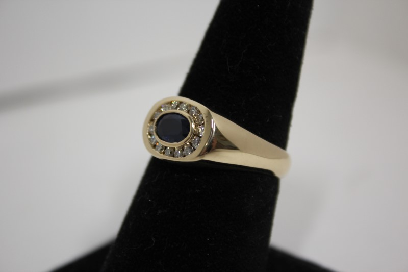 Sapphire Gent's Stone & Diamond Ring 14 Diamonds .42 Carat T.W. 14KYG Size: 10