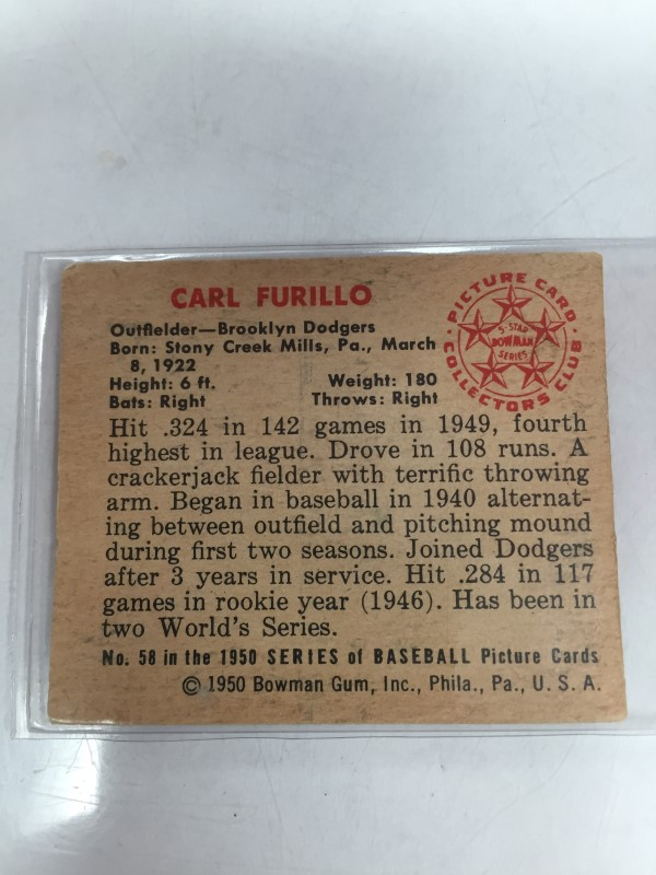 1950 BOWMAN CARL FURILLO BASEBALL CARD