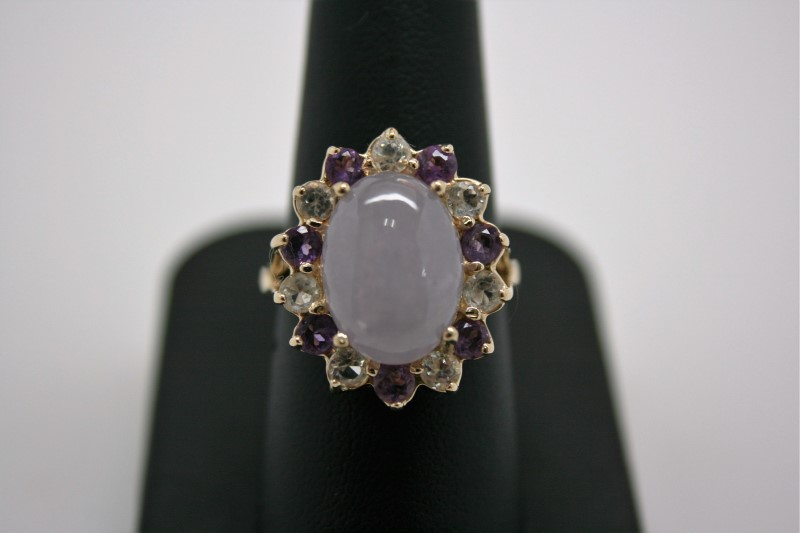 LADY'S LAVENDER JADE & AMETHYST RING 14K YELLOW GOLD