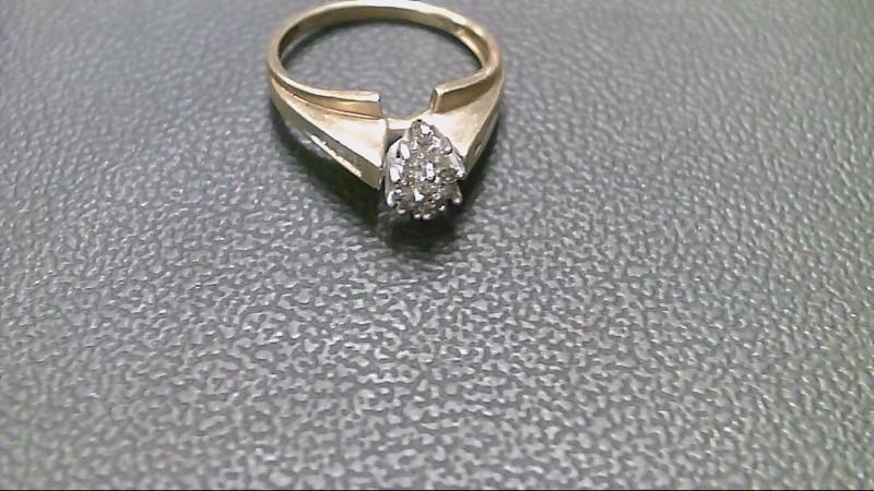 Lady's Diamond Cluster Ring 22 Diamonds .30 Carat T.W. 10K Yellow Gold 2.3g