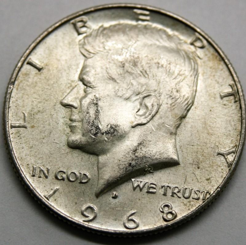 UNITED STATES SILVER 1968-D KENNEDY - 1/2 DOLLAR