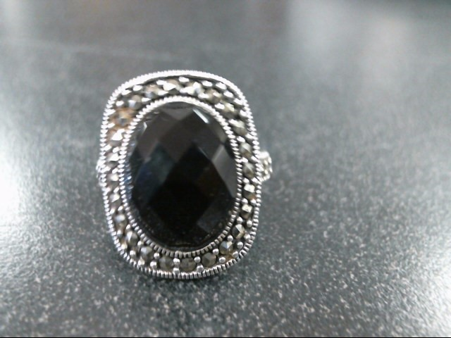 Black Stone Lady's Silver & Stone Ring 925 Silver 9.3g Size:7