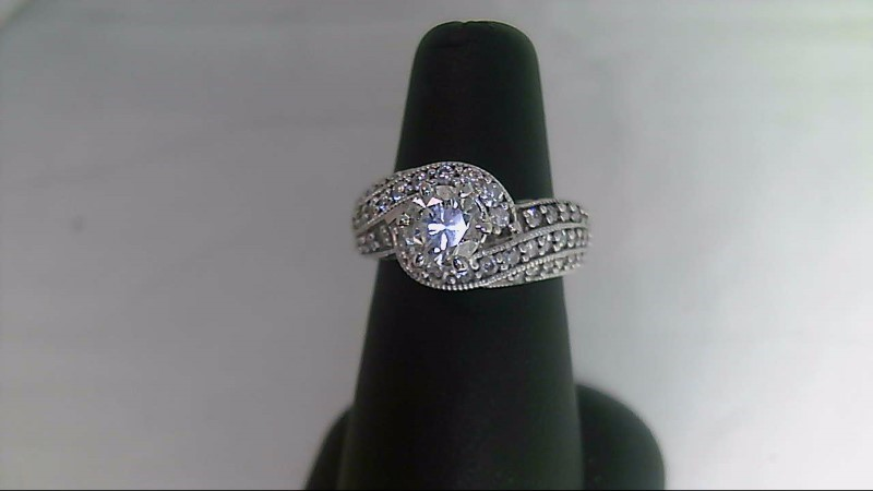 Lady's 14k white gold 1 ct center with rounds ring