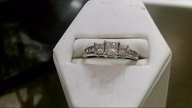 Lady's Diamond Engagement Ring 9 Diamonds .86 Carat T.W. 14K White Gold 3.5g