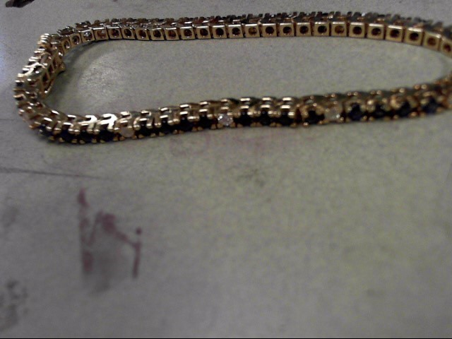 Synthetic Sapphire Gold-Diamond & Stone Bracelet 11 Diamonds .33 Carat T.W.