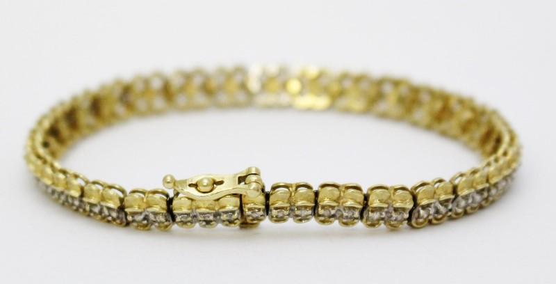 "6"" 10k Yellow Gold Round Brilliant Diamond Tennis Bracelet"