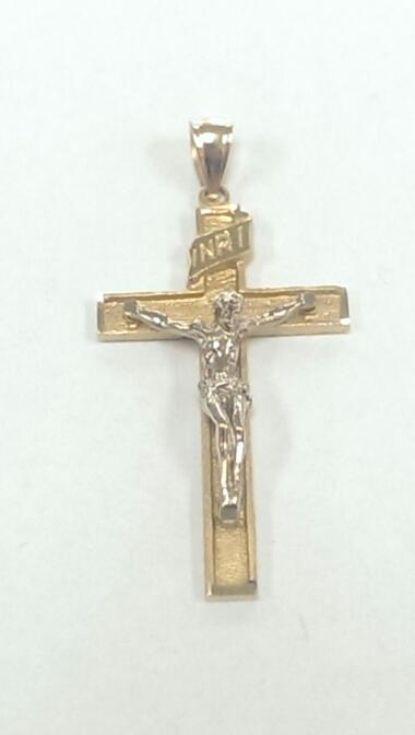 CRUCIFIX 14KT YELLOW GOLD CROSS PENDANT