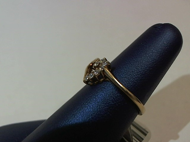 White Stone Lady's Stone Ring 10K Yellow Gold 1.6g Size:6.5
