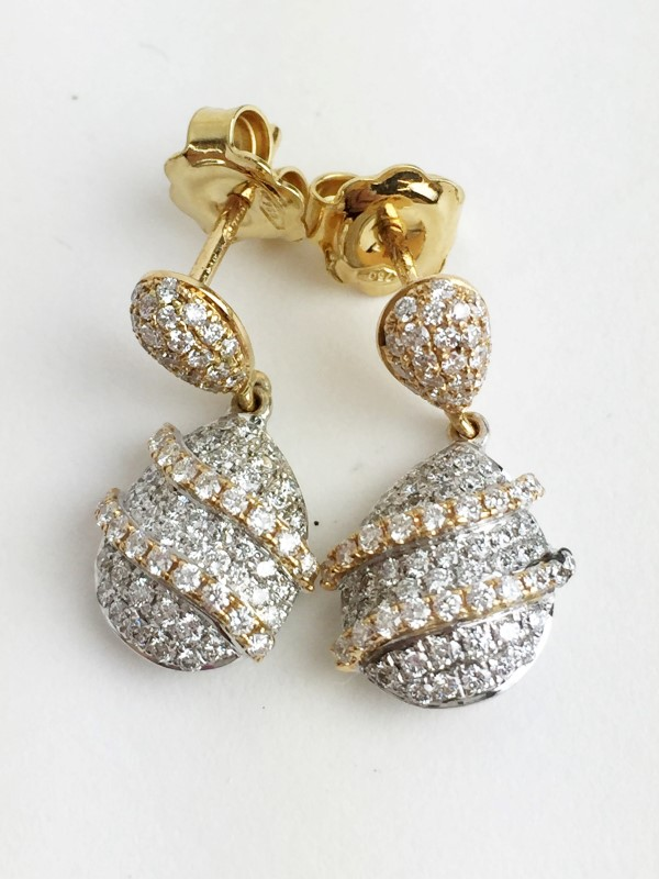 Multi Diamond Earrings 80 Diamonds .80 Carat T.W. 747 2 Tone Gold 5.9g