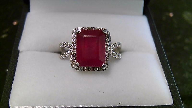 5.17 CTTW Genuine Ruby w/ Diamonds 14K White Gold Ring