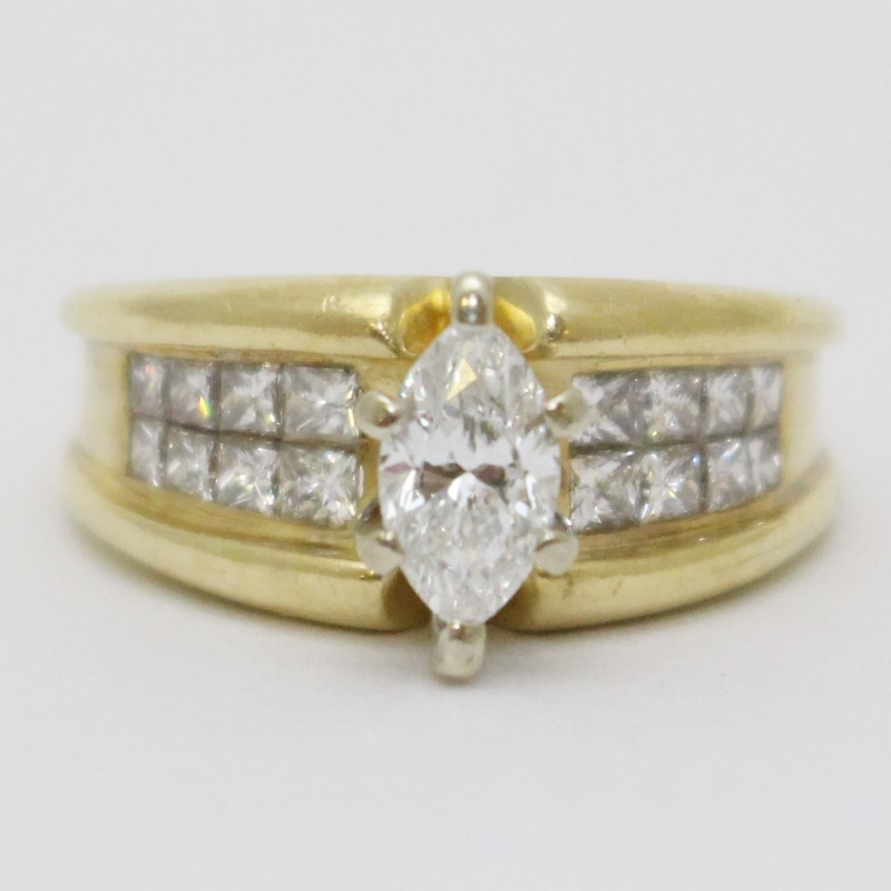 1ct Marquise Diamond & Invisible Set Princess Yellow Gold Engagement Ring Size 6