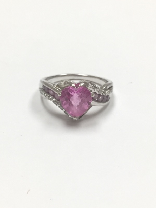 Pink Stone Lady's Silver & Stone Ring 925 Silver 2.5dwt Size:6.5