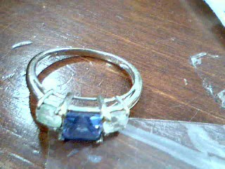 Blue Stone Lady's Stone Ring 10K White Gold 2.18g