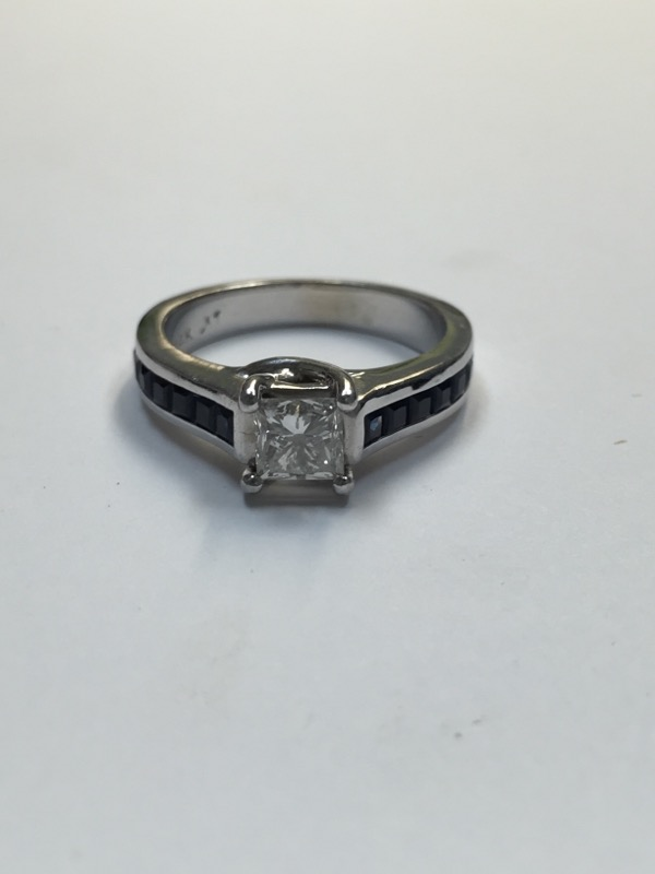Synthetic Sapphire Lady's Stone & Diamond Ring .67 CT. 14K White Gold 3.5dwt