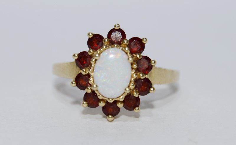 Opal and Garnet 14K Yellow Gold Ring Size 9.5