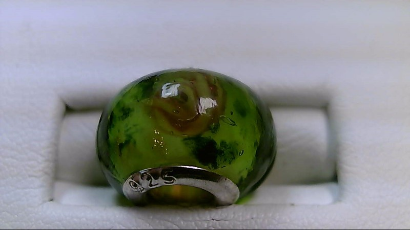 Green and Pink Floral Glass Bead 925 Silver