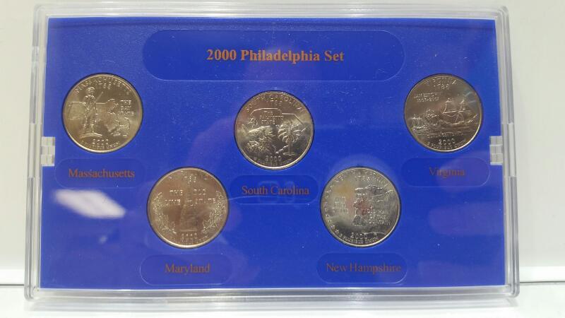 2000 Philadelphia Mint State Quarter Collection MA, MD, SC, NH, VA