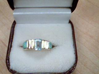 Synthetic Aquamarine Lady's Stone Ring 14K Yellow Gold 5.8g