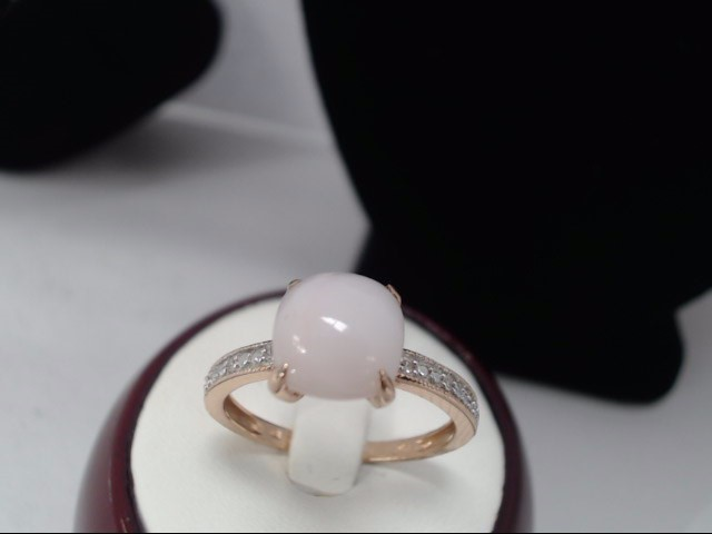 Synthetic Opal Lady's Stone Ring 10K Rose Gold 0.25g Size:7