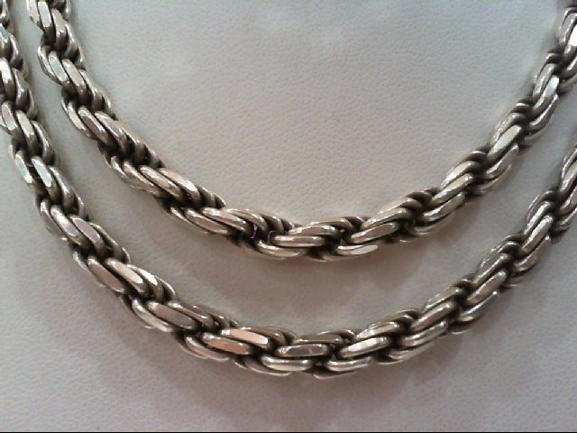 "23"" Silver Rope Chain 925 Silver 62.4g"