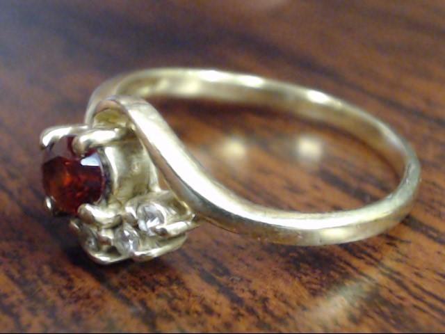 VINTAGE DIAMOND & OVAL CUT GARNET RING SOLID 10K YELLOW GOLD SIZE 8