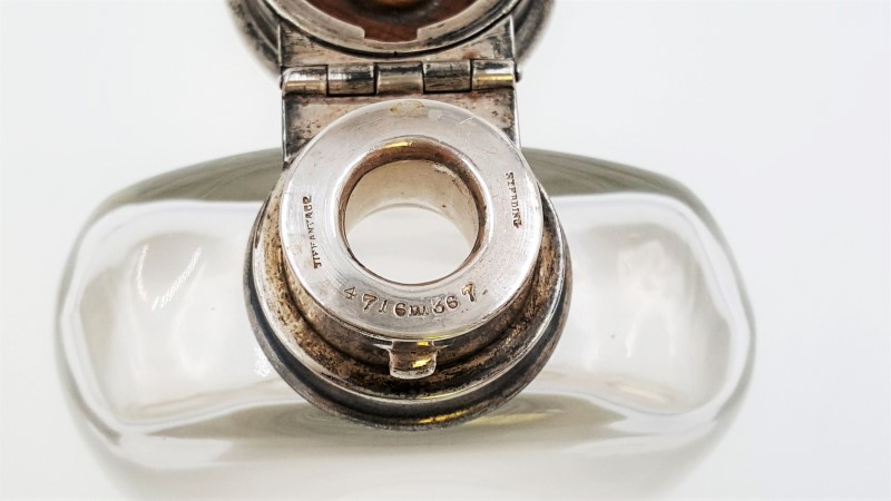19th Century Sterling Silver & Crystal Flask By Tiffany & Co.