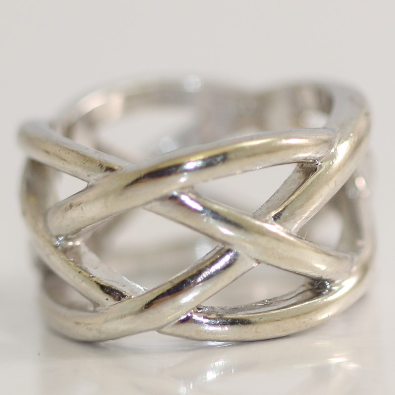 Weaved Sterling Silver Ring Size 6