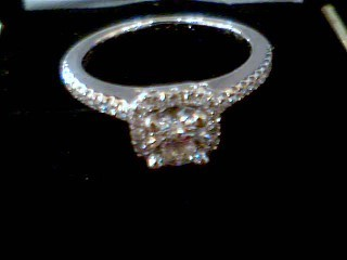 Lady's Diamond Engagement Ring 27 Diamonds .64 Carat T.W. 14K White Gold 3.1g