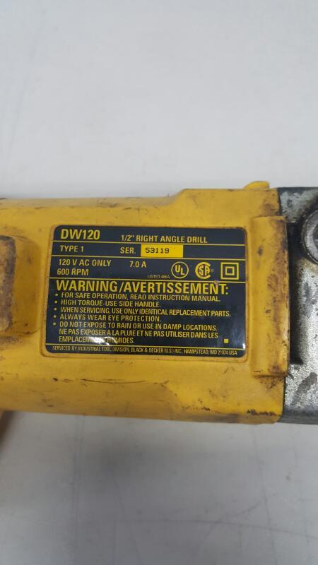 "DeWalt DW120 Heavy-Duty 1/2"" Reversible Right Angle Drill"