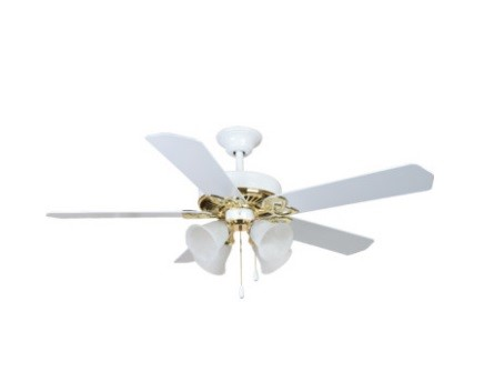 "Seasons Camarillo 52"" Dual Mount Ceiling Fan White Polished Brass Tulip 269258"