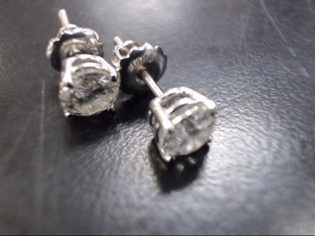 Gold-Diamond Earrings 2 Diamonds 1.00 Carat T.W. 14K White Gold 1.3g